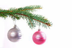 Christmas time. Fir branch and christmas decoration Royalty Free Stock Images