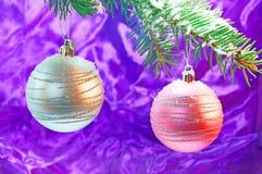 Christmas time. Fir branch and christmas decoration Royalty Free Stock Image