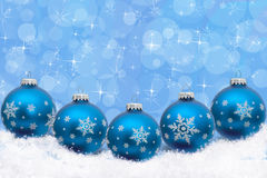 Christmas Time. Turquoise blue Christmas ornaments with snowflakes and snow with a festive turquoise background, Christmas Time Royalty Free Stock Photography
