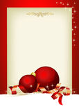 Christmas time. Christmas menu with red balls and customizable area Stock Images