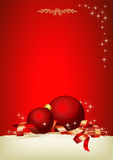 Christmas time. Christmas decoration with red balls and customizable area Royalty Free Stock Images