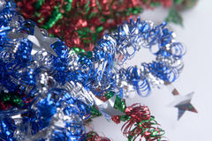 Christmas Time. Christmas colorful decorative laces on white background stock photography