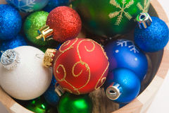 Christmas Time. A series of colorful Christmas ornaments decoration royalty free stock image