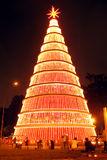 Gigantic Christmas tree at night. Scenic view of gigantic Christmas tree illuminated at night in city of Sao Paulo, Brazil royalty free stock image