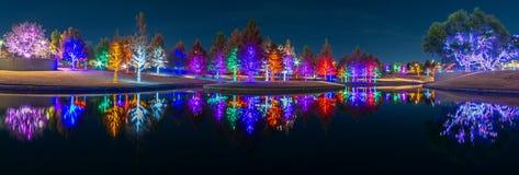 Christmas Lights Sparkle at Vitruvian Park in Addison Texas. Christmas time in Addison Texas as lights fill the trees at Vitruvian Park stock photo