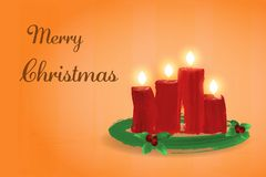 Christmas time. An Advent wreath with four burning candles. In watercolor style Royalty Free Stock Photo