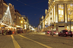 Christmas time in Amsterdam the Netherlands. At night Royalty Free Stock Photos