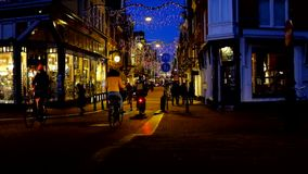 Christmas time in Amsterdam Netherlands at sunset stock footage