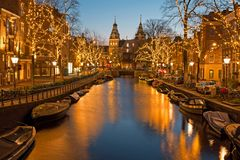 Christmas time in Amsterdam with the Rijksmuseum in Netherlands. At twilight stock images