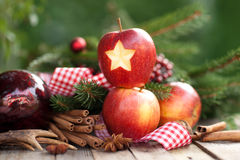 Christmas time, apples Stock Images