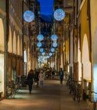 Christmas time in Bolzano in Via dei Portici. Trentino Alto Adige, Italy. royalty free stock images