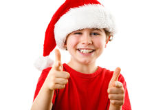 Christmas time - boy with Santa Claus Hat. Christmas time - girl with Santa Claus Hat on white background Stock Photo