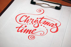 Christmas Time calligraphic background Royalty Free Stock Photos
