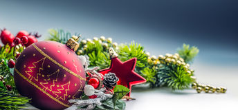 Christmas Time. Christmas card with ball fir and decor on glitter background. Stock Images