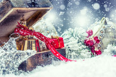 Christmas time. Christmas gifts and decorations in snowy country or atmosphere. Studio shot Stock Images