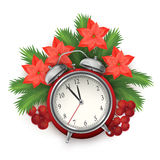 Christmas time composition with alarm clock. Vector Christmas time composition with Christmas tree branches, Rowan berries, poinsettia flowers and alarm clock Stock Image