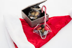 Christmas time concept, chocolate and gift Royalty Free Stock Photography
