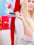 Girl with tablet credit card doing online shopping Royalty Free Stock Images
