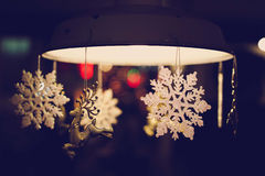 Christmas time. Christmas decoration closeup with snowflakes and raindeers Stock Photo