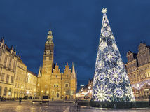 Christmas time at evening on market square in Wroclaw, Poland Royalty Free Stock Photos