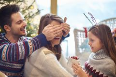 Christmas time with family stock photo