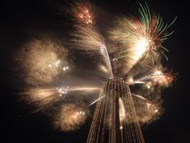 Christmas time fireworks at Vilnius television tower Royalty Free Stock Image