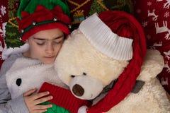 Christmas Time Girl Dreaming stock image