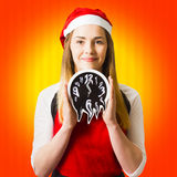 Christmas time girl late for rush hour Royalty Free Stock Images