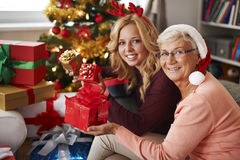 Christmas time. Grandma always visits us at Christmas Royalty Free Stock Photography