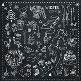 Christmas time hand drawn vector icons vector illustration