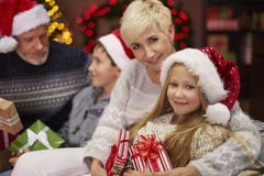 Christmas time for happy family. Finally we are all together Stock Photography