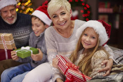 Christmas time for happy family. Good feeling to have such happy children Royalty Free Stock Photos