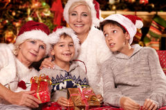 Christmas time. Happy family. Royalty Free Stock Images