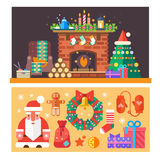 Christmas time. Interior of the house with a fireplace, Christmas tree, gifts, decorations. Vector flat illustration Royalty Free Stock Images