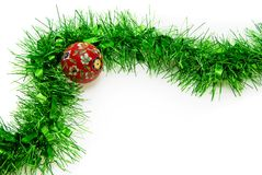 Christmas Time: Isolated Tinsel and Bauble. With plenty of copy space Stock Image