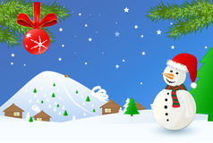 Christmas time-landscape with snowman Royalty Free Stock Photography