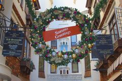 Seasons greetings in London Court, Perth, Australia. Seasons greetings and Christmas decorations in London Court, city center of Perth, Western Australia Stock Photo
