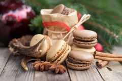 Christmas time, macaroons Stock Images