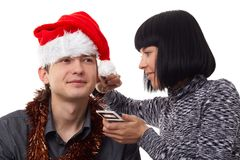 Christmas time. Makeup. Royalty Free Stock Image