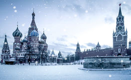 Christmas time in Moscow - snow falling on Red Square. Russia stock photo
