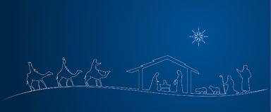 Christmas time - Nativity scene. Nativity scene with Mary, Joseph, baby Jesus, shepherds and three kings Royalty Free Stock Photography