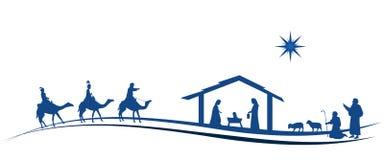 Christmas time - Nativity scene. Nativity scene with Mary, Joseph, baby Jesus, shepherds and three kings Stock Photo