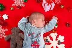 Christmas time, newborn baby Stock Image
