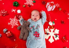 Christmas time, newborn baby Stock Images