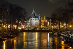 Christmas time on the Nieuwmarkt in Amsterdam Netherlands at night Stock Photo