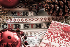 Christmas time. Paper bags and cookies composition Stock Photo