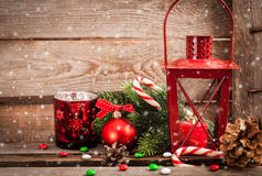 Christmas time red latern with candle light and holiday decorati Royalty Free Stock Image