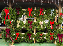 Christmas Time at the Salem Farmers Market. Salem, VA – November 28th: Christmas wreaths at the Salem Farmers Market on November 28th, Salem, Virginia royalty free stock image