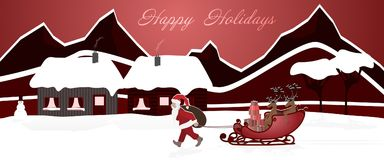 Christmas time - Santa pulls his reindeers. Santa pulls his reindeer on the sledge behind him. Winter landscape. Text: Happy Holidays Royalty Free Stock Photography
