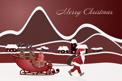 Christmas time - Santa and reindeers. Santa pulls his reindeer on the sledge behind him. Winter landscape. Text: Merry Christmas Royalty Free Stock Image